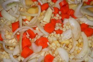 Vegetables ready for roasting.