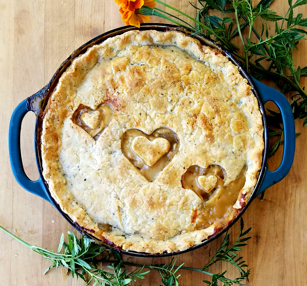 baked chicken pot pie with herb pastry crust