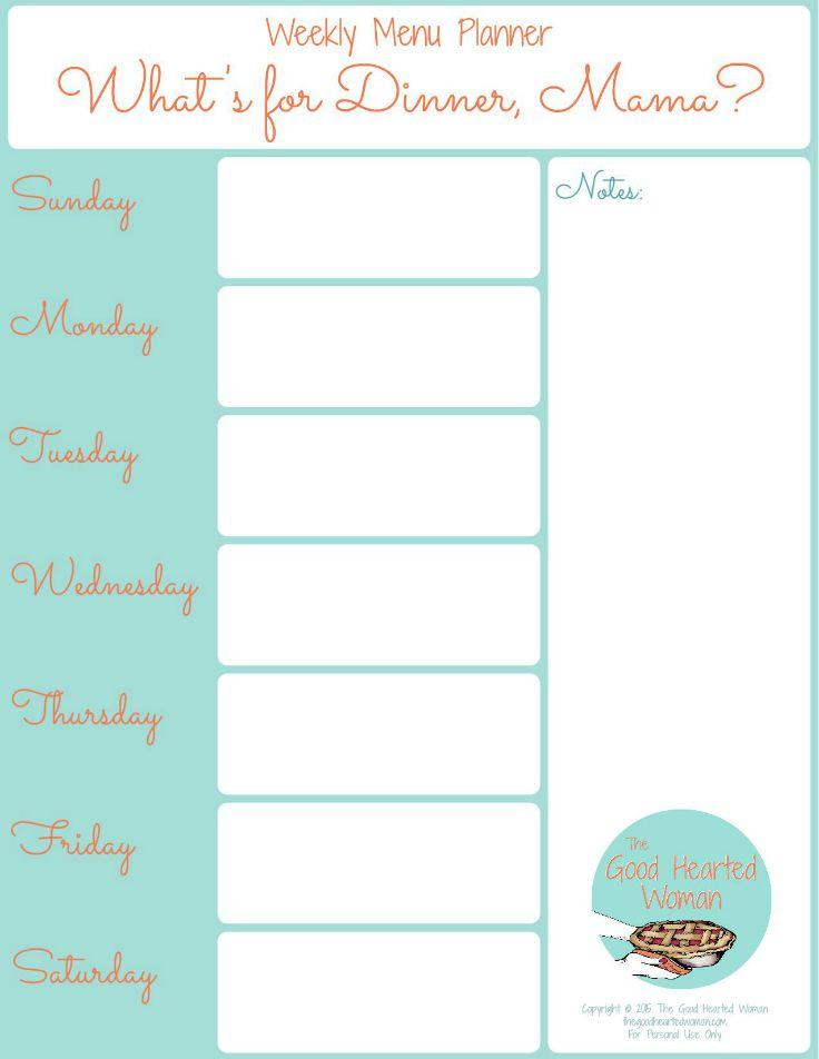 image regarding Printable Dinner Planner known as Printable Weekly Menu Planner The Wonderful Hearted Girl