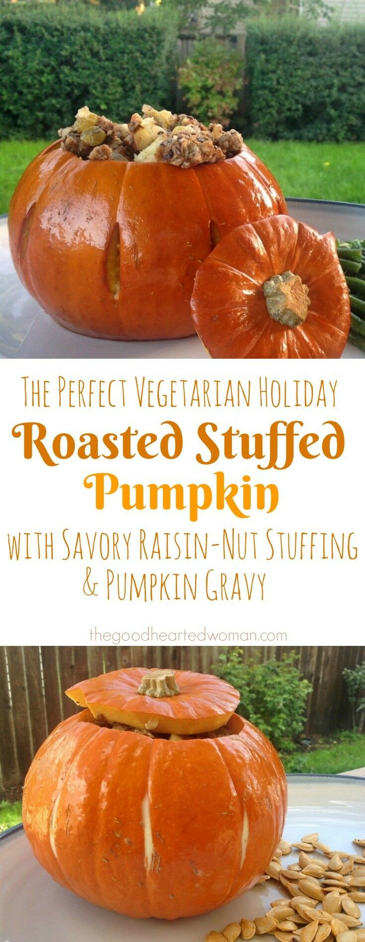 Roasted Stuffed Pumpkin {with Savory Raisin-Nut Stuffing & Pumpkin Gravy} | The Good Hearted Woman