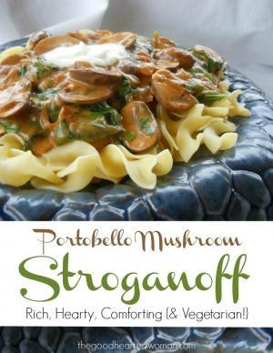 This easy-to-prepare recipe yields a rich, hearty vegetarian Portobello Mushroom Stroganoff - savory, comforting, and oh-so-satisfying! {Recipe can be easily adapted for vegans.} | The Good Hearted Woman