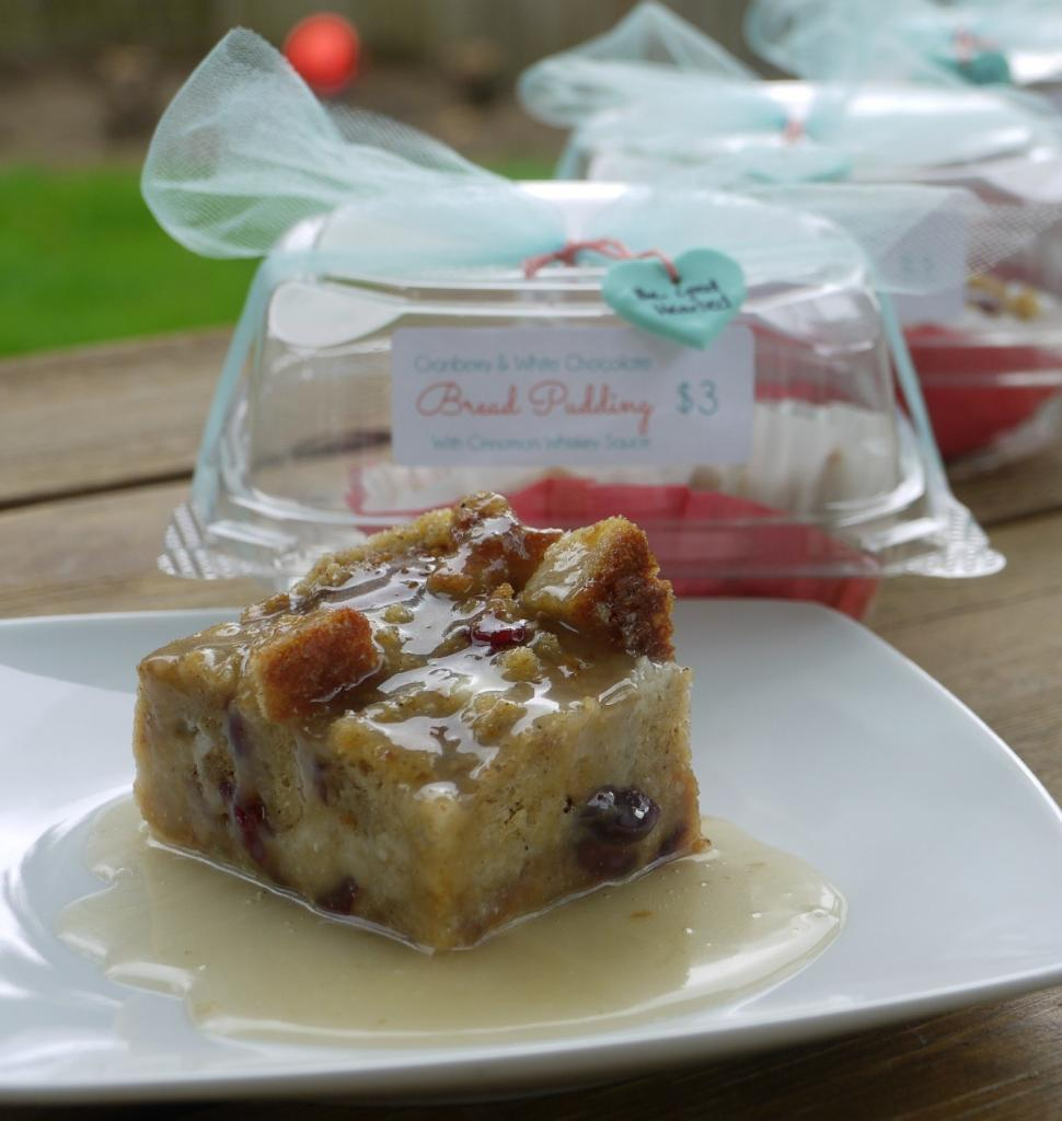 Cranberry & White Chocolate Bread Pudding with Cinnamon Whiskey Sauce