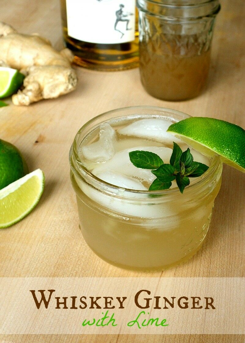 Classic Whiskey Ginger with Lime {Made with Homemade Ginger Syrup}