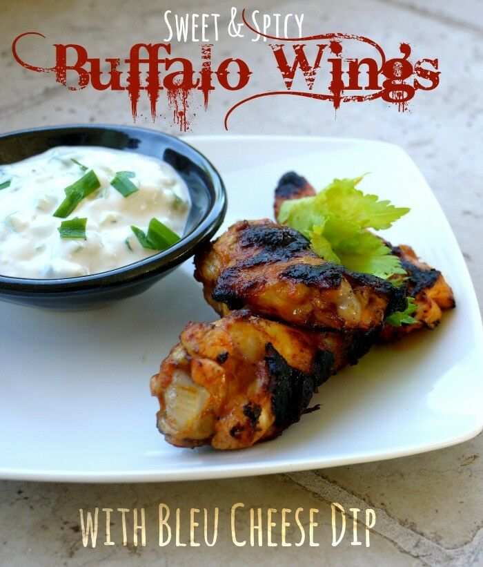 Sweet & Spicy Buffalo Wings with Bleu Cheese Dip | The Good Hearted Woman