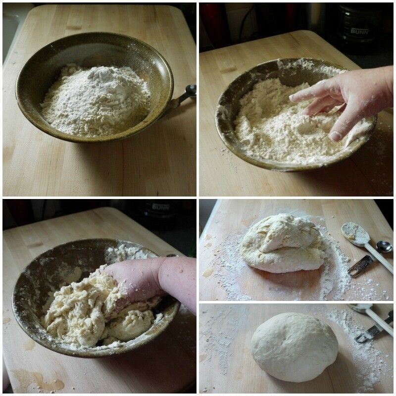 Homemade Tortillas - mixing dough