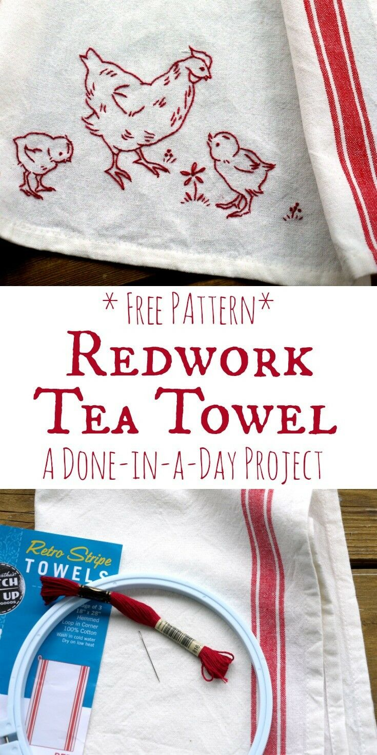 "Redwork Chicken Tea Towel - A ""Done-in-a Day"" Project"" with Free Pattern 