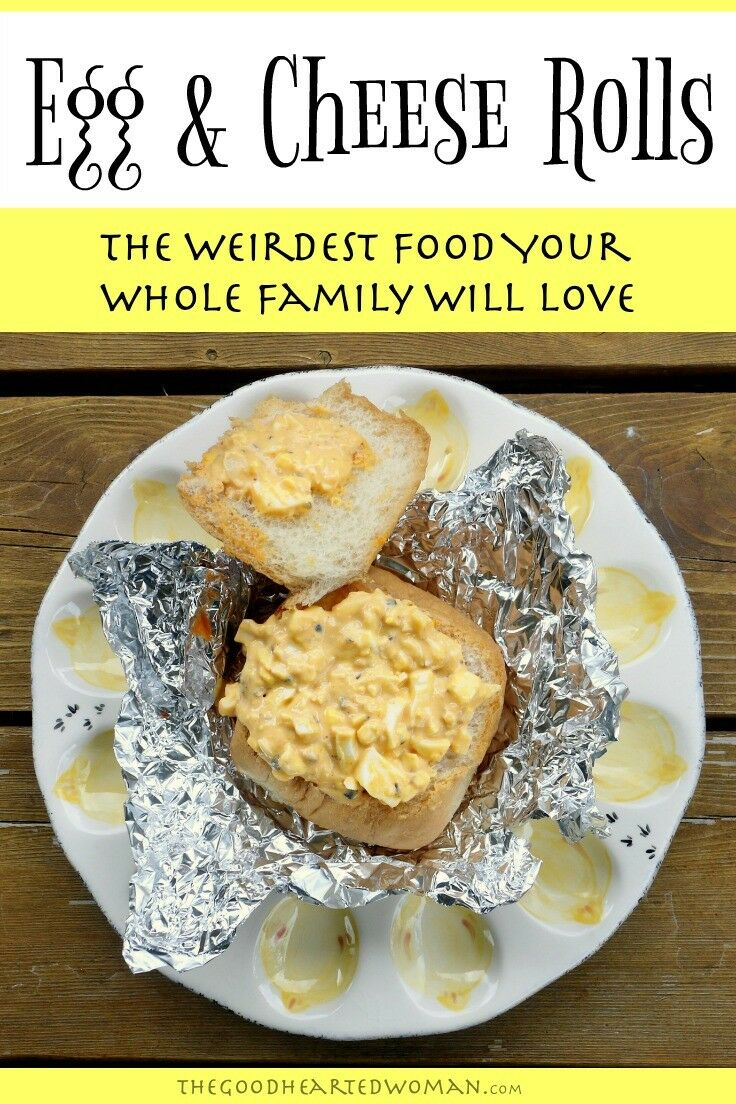 Egg & Cheese Rolls: The Weirdest Food Your Whole Family Will Love Egg & Cheese Rolls are inexpensive, easy, kid-friendly, and surprisingly tasty. They are also one of the weirdest meals we make. | The Good Hearted Woman #hardboiledeggs #eggs #weeknightmeals #easymeals #budgetmeals #dinnerrecipes #dinnerideas #familydinner
