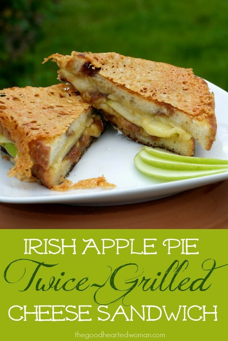 "Melted Dubliner cheese, tart apples, sweet apple butter, and cinnamon bread combine to make this amazing, award winning ""Irish Apple Pie Twice-Grilled Cheese""