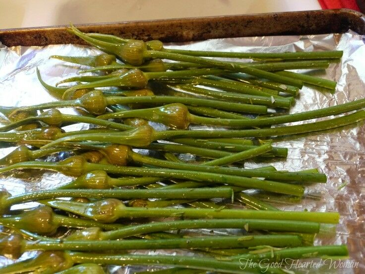 Roasted Garlic Spears (or Garlic Scapes) Recipe | The Good Hearted Woman