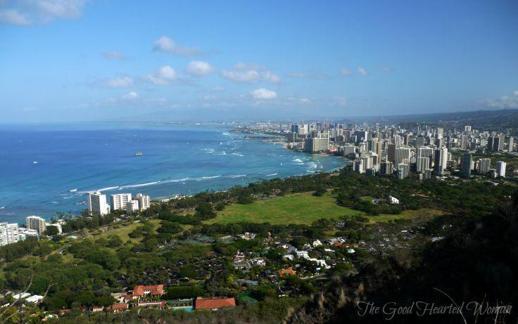 Honolulu to the west, as seen from the top of Daimond Head - Tips for Hiking Diamond Head {Oahu} | The Good Hearted Woman