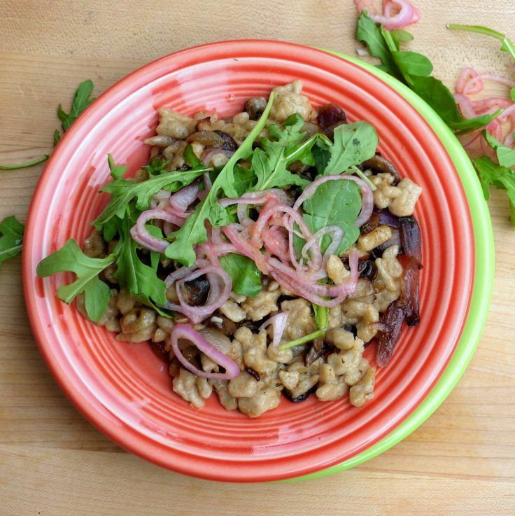 Perfect for Oktoberfest (or Any-fest!), the recipe for this amazing Rye Sourdough Spaetzle - with Caramelized Cipollini, Sauteed Mushrooms, and Tabasco Shallots - comes to us courtesy of Chef Ryan Mead of Portland's Bent Brick. | The Good Hearted Woman