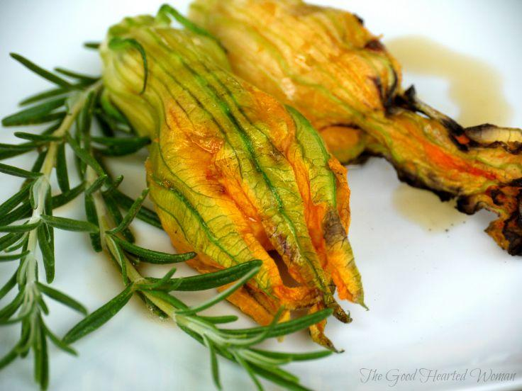 Squash Blossom Recipe - Grilled Squash Blossoms with Sweet Potato & Mascarpone | The Good Hearted Woman