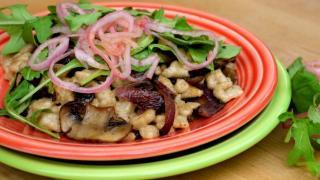 Rye Sourdough Spaetzle with Caramelized Cipollini & Sautéed Mushrooms