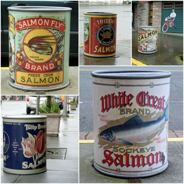Sidewalk Salmon Cans, Anacortes, WA | The Good Hearted Woman