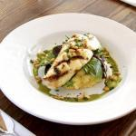 "Chef Steve Debaste, of the New Leaf Café on Orcas Island, generously shares his recipe for ""Grilled Halibut and Local Salad Greens with Verjus and White Truffle Vinaigrette"" 