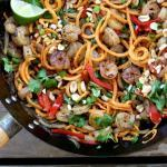 Spiralized Sweet Potato Pad Thai with Shrimp | The Good Hearted Woman