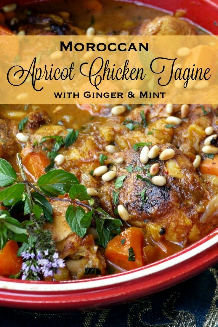 Apricot Chicken Tagine with Ginger & Mint is an exotic, warmly spiced stew that is easy to prepare, family-friendly, and oh so delicious! | The Good Hearted Woman #moroccanfood #frenchmoroccan #tagine #taginerecipe #moroccantagine