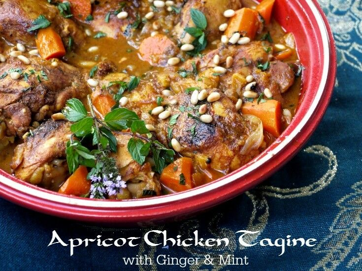 Apricot Chicken Tagine with Ginger & Mint is an exotic, warmly spiced stew that is easy to prepare, family-friendly, and oh so delicious!