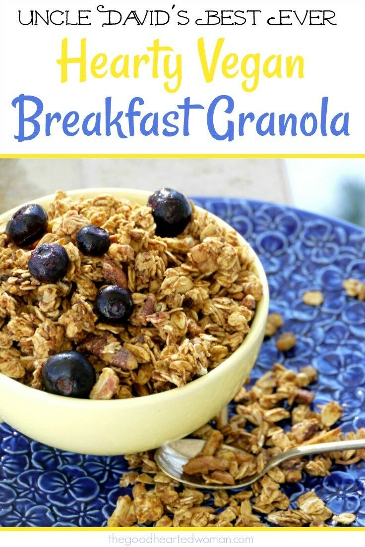 Uncle David's Hearty Vegan Breakfast Granola is a delicious, healthy way to start your day! | The Good Hearted Woman