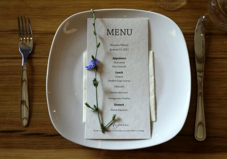 Menu - Estate Grown, Naturally - A Tour of Maysara Winery & Momtazi Vineyard, McMinnville, Oregon | The Good Hearted Woman
