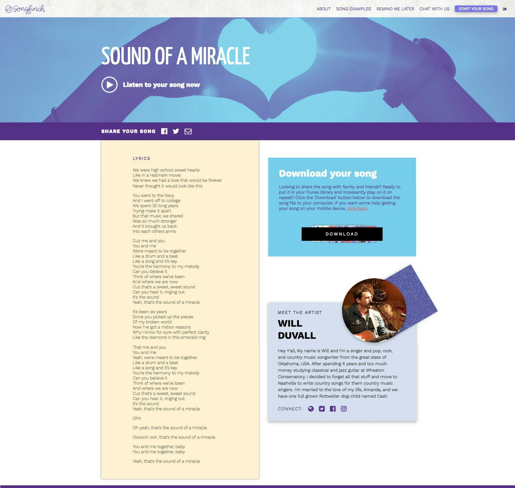 Songfinch Personalized Song Review {Sound of a Miracle} | The Good Hearted Woman