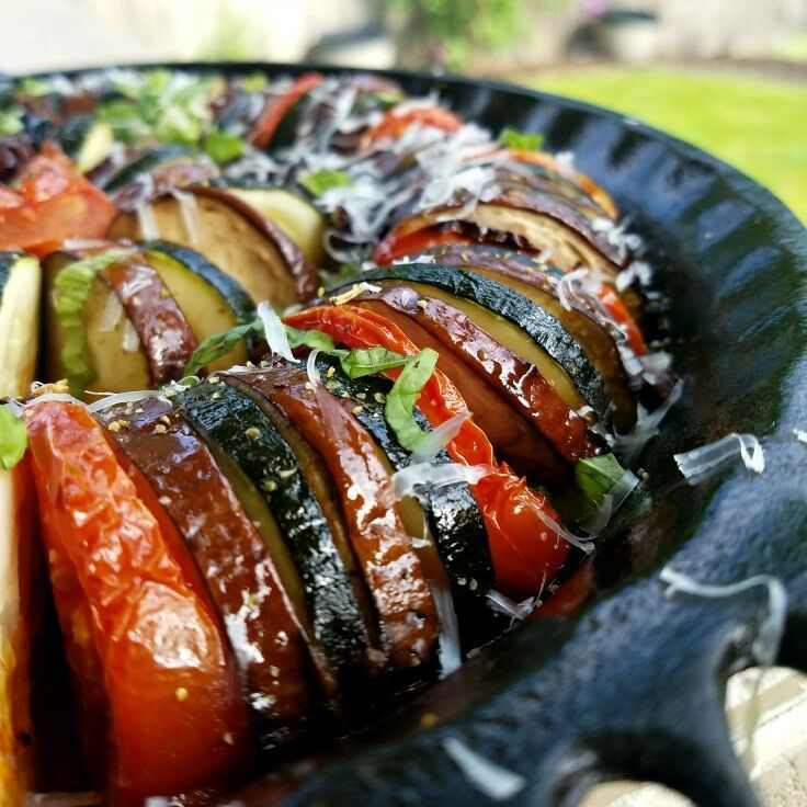 Roasted Ratatouille {with Pan-fried Onions}