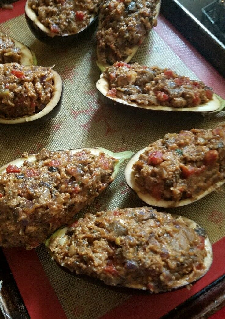 Bolognese Stuffed Eggplant Boats with Balsamic Glaze | The Good Hearted Woman